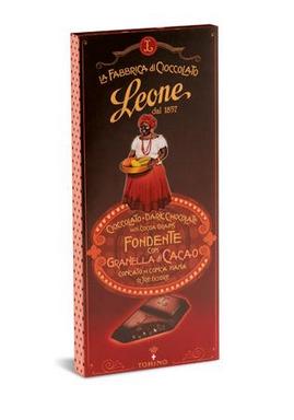 Pastiglie Leon - Cioccolato Leone 68% con Granella di Cacao 75gram.